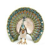 Colorful Peacock With Feathers Fanned Out Figurine $27.82 www.allthingspeacock.com