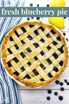 Fresh blueberry pie is the perfect amount of sweetness balanced perfectly with the tart lemon. Top with some freshly whipped cream and you have one delightful dessert. This blueberry pie is a summertime dream. Fresh Blueberry Pie, Blueberry Pie Recipes, Strawberry Cake Recipes, Blueberry Desserts, Pie Crust Shield, Refrigerated Pie Crust, Lemon Top, Summer Dessert Recipes, Homemade Apple Pies