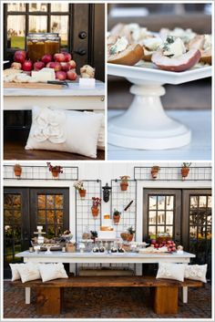 Rustic charm dessert table (like the idea of the cake plate standing on jars)