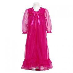 Laura Dare Fuchsia Floral Peignoir 2pc Robe Nightgown Girls 2T-14