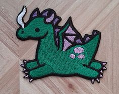Cute green dragon iron-on patch, fantasy, mythological creature.  Free postage in the UK.