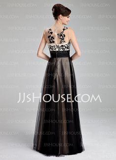 Vestidos princesa/ Formato A Decote redondo Vestidos longo Tule Vestidos de baile com Pregueado Renda (018019083)