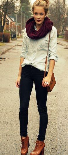 boots, plum lipstick & scarf