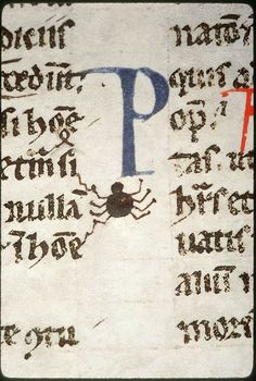"""A little spider in Justinian's """"Digestum Vetus"""", probably created in Bologna, Italy, in the late 13th century. Amiens, Bibliothèque Municiaple, Ms. 347, fol. 153."""