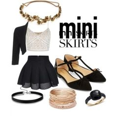 Black theme mini skirt (meow)