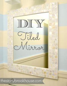 Ideas For Diy Bathroom Mirror Makeover Mosaic Tiles Mirror Mosaic, Mosaic Diy, Mirror Tiles, Mosaic Tiles, Tile Around Mirror, Bathroom Mirror Makeover, Bathroom Mirrors Diy, Bathroom Ideas, Tile Framed Mirrors