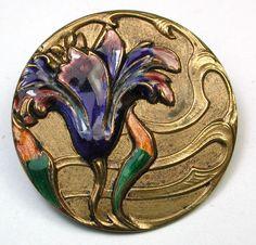 Antique French Enamel Button Art Nouveau Flower Stunning & Unusual 1 & 3/16