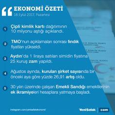 #EkonomininÖzeti 19 Eylül Ekonomi Bülteni #kimlikkartı #tmo #fındık #aydın #simit #zam #şirket #emekli #ikramiye