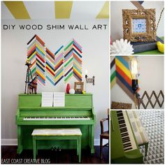 Wood Shim Wall Art {Tutorial} (I'd glue to a board/canvas; it might be difficult to take Gotilla Glue off the walls.)
