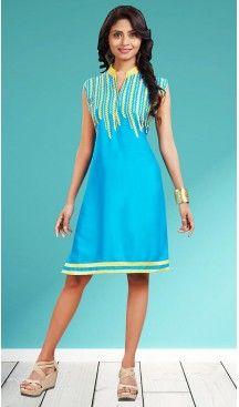 Cotton Sky Blue Color Straight Style Readymade Kurtis | FH477473784 #kurtis , #kurtas , #tunic , #top , #fashion , #clothing , #women , #heenastyle , #ladies , @heenastyle , #teenagers , #girls , #style , #mode , #mehendi