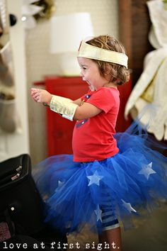 Baby wonder woman! Ummm, I think our baby girl and I will def have to play matchy matchy one Halloween!