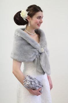 Faux fur wrap bridal stole Silver 800MM-Silver