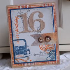 16th Birthday Handmade Greeting Card by ShopPaperScissors on Etsy
