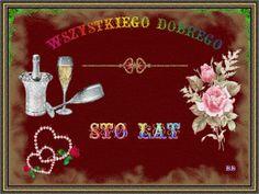 Urodziny i imieniny: Gify urodzinowe Happy Birthday, Christmas Ornaments, Holiday Decor, Whisky, Rose, Beautiful, Vintage, Flowers, Happy Brithday