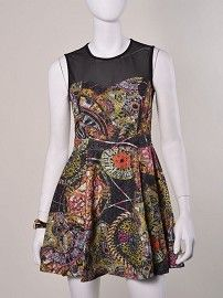 Mosaic Print Mesh Inset Flare Dress #dresses #sheer #floral #geometric #print #mosaic #flaredress #meshinset