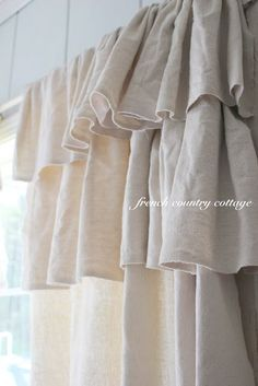 French Country Cottage: Double Ruffle Drop Cloth Panels, love this look! French Country Kitchens, French Country Bedrooms, French Country Cottage, French Country Style, Cottage Style, Farmhouse Style, Country Cottages, European Style, Bedroom Country