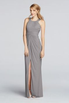 d29b2dc7eaa Choose this long mesh halter bridesmaid dress designed with