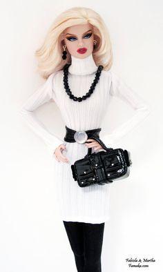 Black & White  Knit Sweater Dress Fashion for Fashion Royalty and Silkstone Barbie. $65.00, via Etsy.
