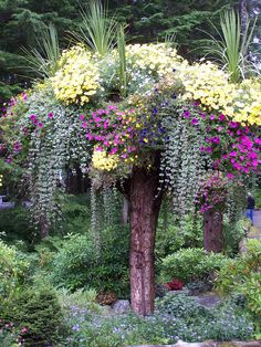 Glacial Gardens and their upside down tree planters. Gorgeous and clever. Glacial Gardens and their Natural Landscaping, Front Yard Landscaping, Fairy Garden Houses, Garden Art, Tree Planters, Front Garden Landscape, Natural Garden, Garden Trellis, Garden Projects