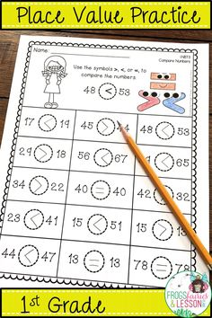 Place Value practice for first graders! This packet has tons of activities for working with Tens and Ones, Comparing Numbers, and Assessments created with the 1st Grader in mind. No fluff, no prep, printer friendly, at your fingertips! Click to preview this amazing resource!