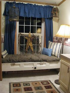 Old Salvaged Door...re-purposed into a fabulous window seat/daybed!!   Instructions included.