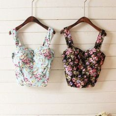 Shirt: bandeau, flowers, flower print, tank top, t-, clothes, floral, summer, cute, love, girl, bustier, top, vintage, hipster, fashion, floral tank top, floral bustier, flower, flower printed, crop tops - Wheretoget