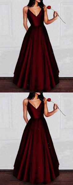 Simple v neck burgundy long prom dress burgundy evening dress