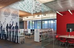 "Another teen space I like.  ""A joint project of Phoenix PL and South Mountain Community College, South Mountain Community Library, Phoenix, treats its teens to a space surrounded by translucent walls and arresting sculptural panels."""