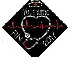 BSN RN LPN nurse graduation cap custom name and date iron on