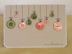 DIY holiday crafts - great idea for teacher holiday cards Xmas Cards, Diy Cards, Christmas Postcards, Craft Cards, Greeting Cards, Christmas Holidays, Christmas Decorations, Merry Christmas, Christmas Buttons