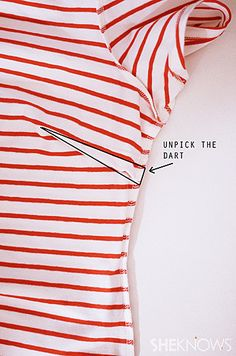 Unpick the dart in the side of the dress