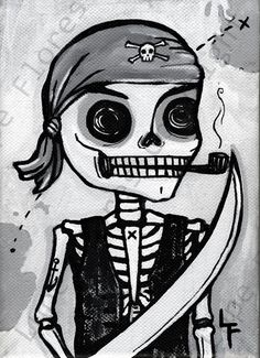 Dead Pirate with a Pipe 5x7 art print by ArtByLupeFlores on Etsy, $6.99