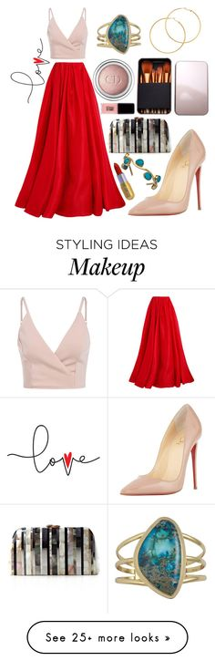 """Pink and Red"" by barbara-lancianese on Polyvore featuring Reem Acra, Charles Albert, Melissa Odabash, Christian Louboutin, Christian Dior, Winky Lux, Serpui and Jin Soon"