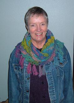 Crocheted tube scarf, C2C crochet stitch Size P hook. Gina brand variegated yarn.