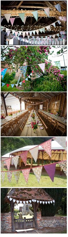 love all these pretty uses of bunting for outdoor spots to relax on the farm