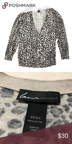 dbd4199485 Lane Bryant Snow Leopard Print Cardigan Gorgeous EUC button up cardigan. So  soft and comfy