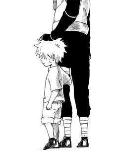 Little Naruto and I believe that's Kakashi or Minato with Naruto.