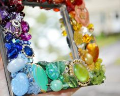 handmade rainbow jewelry mosaic mirror by MosaicTreasureBox, Mosaic Crafts, Mosaic Art, Mirror Crafts, Weird Jewelry, Handmade Mirrors, Jewelry Mirror, Mosaic Mirrors, Broken China, Mosaic Ideas