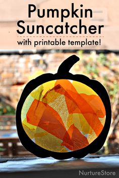 Easy pumpkin suncatcher craft with printable pumpkin template - NurtureStore