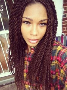 """Senegalese Twists...I love that red hair! 