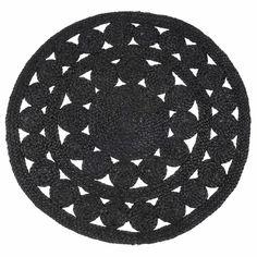 Tapis rond en jute noir D 90 cm ÉBÈNE