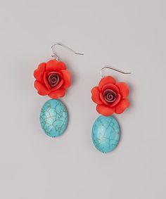 Look at this #zulilyfind! Turquoise & Red Blossom Drop Earrings by ZAD #zulilyfinds