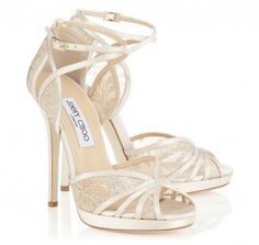 5fafae70c2b 2014 Romantic Wedding shoes Jimmy Choo Fayme Ivory and White Satin Sandals  Lace 120mm or 100mm