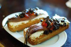 "Bodegas Almau en El Tubo de Zaragoza (Spain) ""dulce de anchoa"": anchovies, cheese, chocolate drops and tomato jelly"