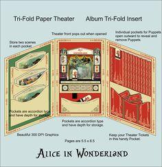 Tri-Fold Alice in Wonderland Album Insert and/or Tri-fold Alice Paper Theater. Digital Alice Album, Paper model, cardboard, Printable.