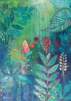 Green jungle mystery, acrylic painting on canvas by Lisa Marie Schmidt, REDHEAD ART