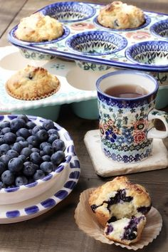 Hot from the Oven ~ Homemade Blueberry Muffins in Folk Design Pottery ....