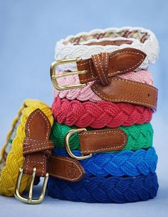"""nickelcobalt: """" Unabashedly Prep - Kiel James Patrick Sailing Belts rugged and preppy """" Preppy Style, My Style, Preppy Outfits, Braided Belt, Braided Bracelets, Woven Belt, Vogue, Thing 1, Fashion Accessories"""