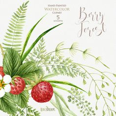 Strawberries watercolor ferns leaves red berries clipart