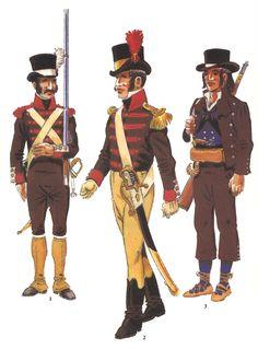 Tropas Vascongadas creadas durante la Guerra de la Independencia:  1 y 2 Voluntario y Oficial (Subteniente) de los Batallones Vizcainos 3 Cuerpo de Miñones de Álava